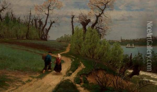 Rein, Spring Landscape - Kevatmaisema Reinin Varrelta Oil Painting, Fanny Churberg Oil Paintings - NiceArtGallery.com