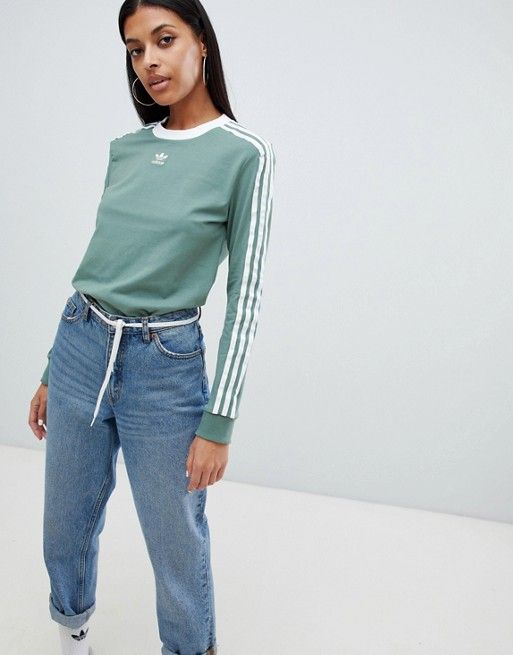best service 13180 a2324 adidas Originals Three Stripe Long Sleeve T-Shirt In Green