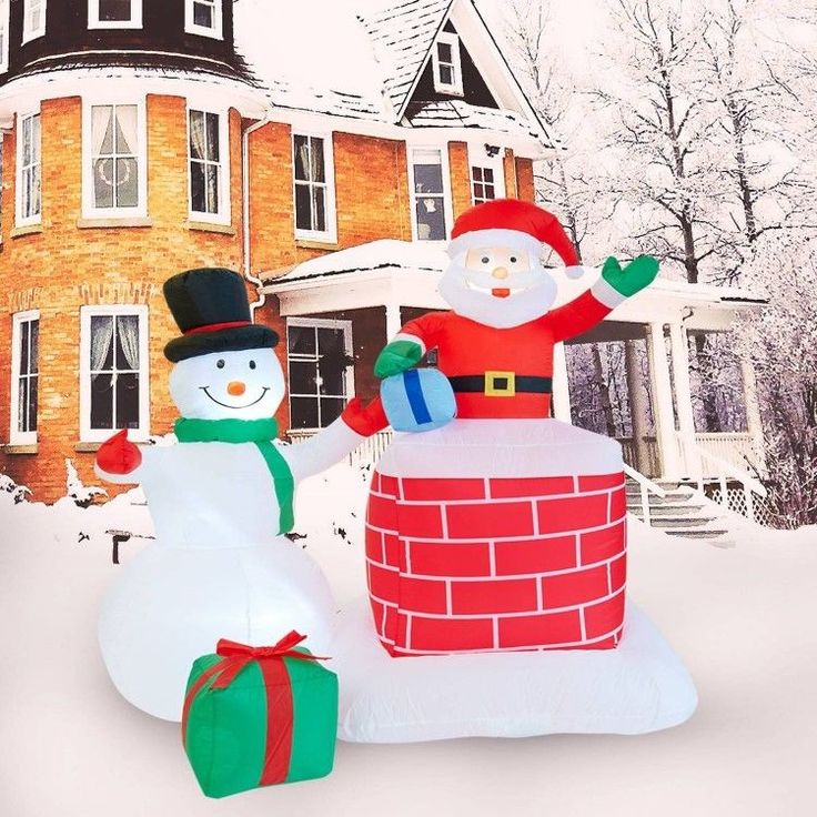 Christmas Santa Snowman Airblown Inflatable 6 Ft Yard LED Lighting Xmas Decor #easy_shopping08