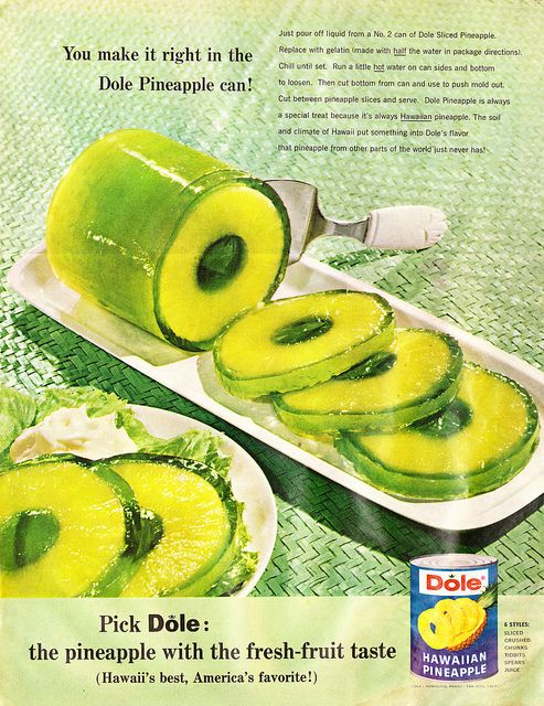 Drain juice from a can of Sliced Pineapple, replace with jello made with 1/2 of the water required on pkg. Chill until set. Run hot water on can sides & bottom to loosen. Cut bottom from can to punch mold out. Cut between pineapple slices & serve.