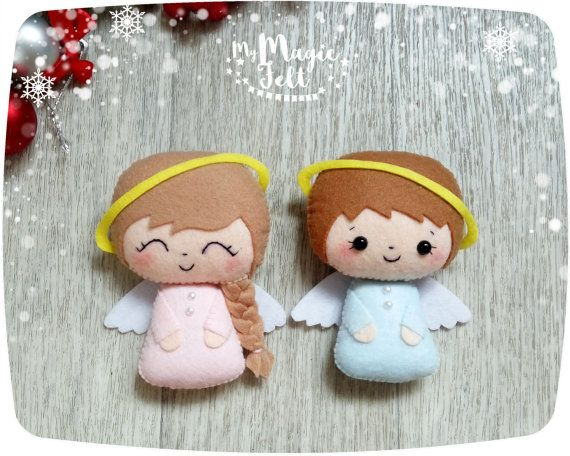 Christmas Ornaments felt Christmas ornament Angel Set of 2 angels felt ornaments New Year decor Christmas gift Christmas Tree decorations
