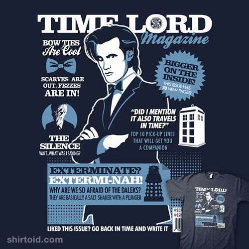 Time Lord Magazine: Timelord Magazines, Magazines By Toms, Doctorwho, Doctors Who, Time Lords, Dr. Who, Tshirt, T Shirts, Salts Shakers