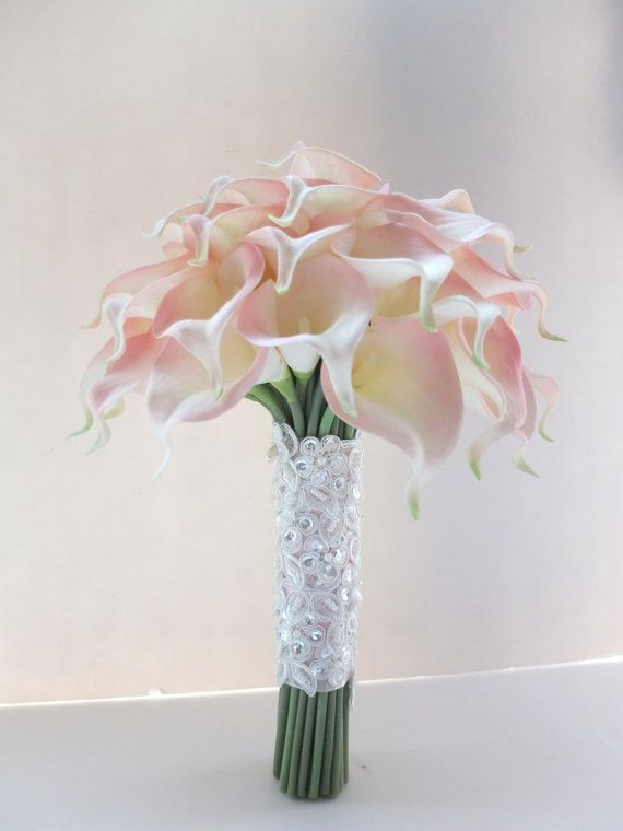 Blush Pink Calla Lily bouquet Bridal Bouquet by LoveMimosaFleur