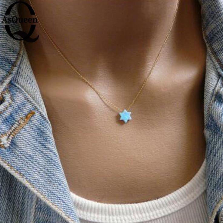 2017 New Fashion Jewish Jewelry Star of David Opal Pendant Necklace Women Men Necklace