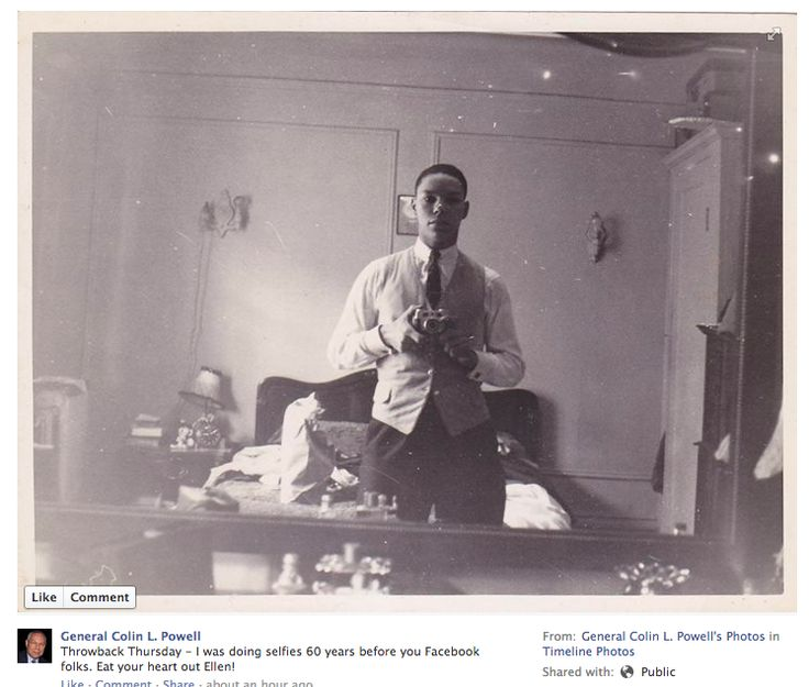 Colin Powell's old-style selfie wins.