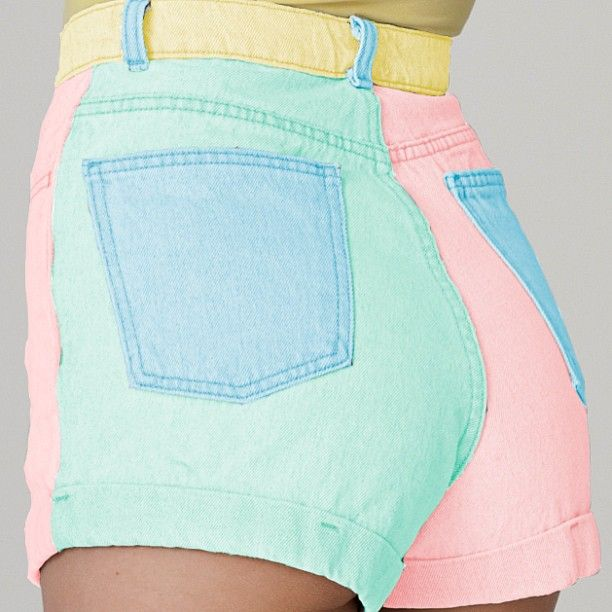 Something new to start your week off! Our High-Waist Cuff Short is coming soon in Colorblock Pastel. #comingsoon #colors #denim #shorts
