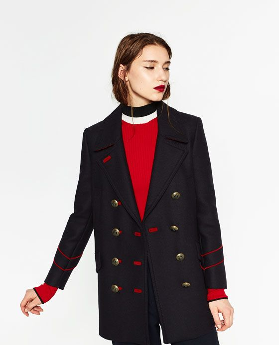 Image 2 of MILITARY STYLE COAT from Zara