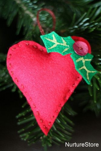 A lovely simple kids Christmas sewing project: how to sew a heart ornament | NurtureStore :: inspiration for kids