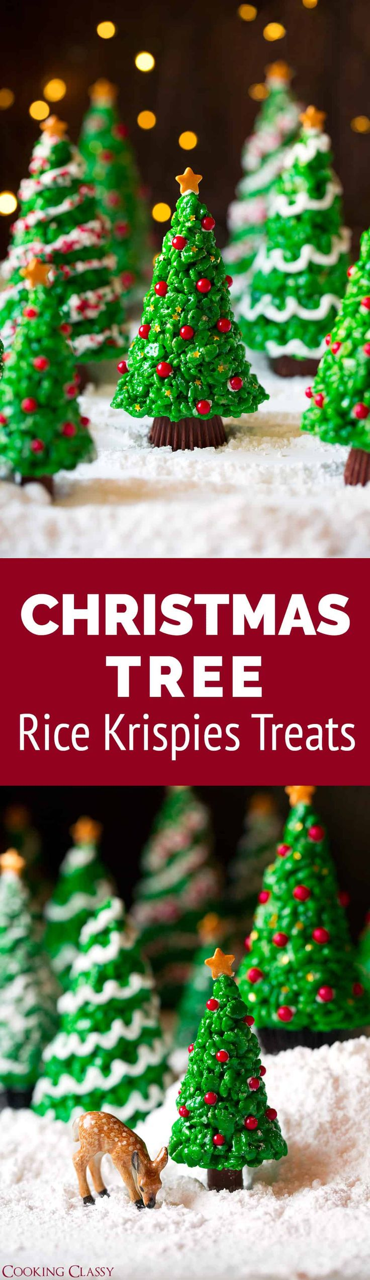 Christmas Tree Rice Krispies Treats - just as much fun to make as they are delicious to eat! Everyone loves these! #christmas #ricekrispies #treat #christmastree #dessert via @cookingclassy