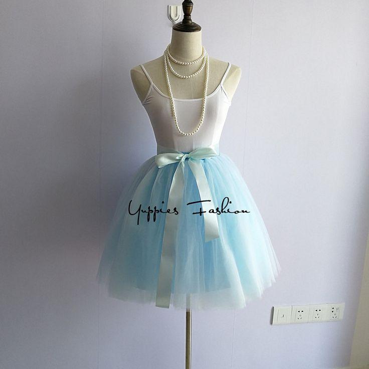 Kalite 7 Katmanlar Mini Tül Etek Pilili Etek Moda Tutu Etekler Womens Amerikan Giyim Balo Petticoat Elastik Kemer
