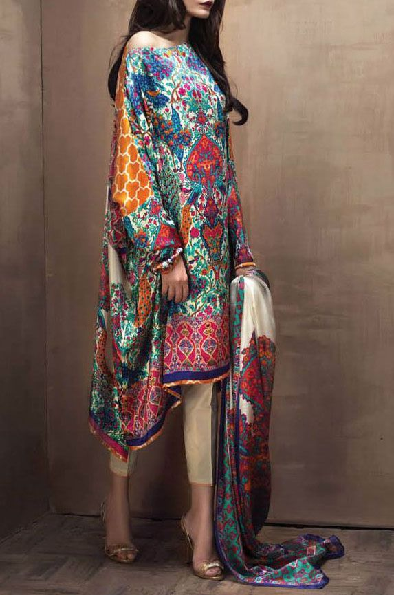 Buy Multicolor Silk Dress by Sana Safinaz 2015.