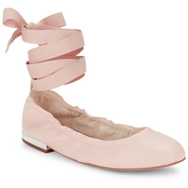 Sam Edelman Fallon Lace-Up Leather Ballet Flats (8615 RSD) ❤ liked on Polyvore featuring shoes, flats, light pink, lace up flats, flat shoes, light pink ballet flats, leather flats and ankle strap ballet flats