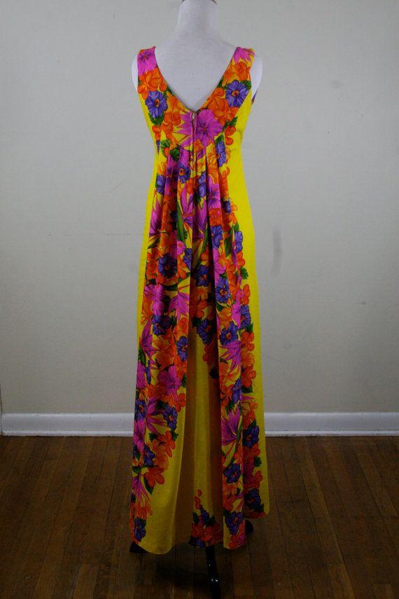 1970s Waterfall Back Hawaiian Dress An Original by YaYaRetro, $63.00