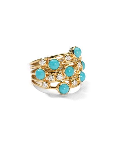 $2800 Y0EVT Ippolita Turquoise & Diamond Constellation Ring