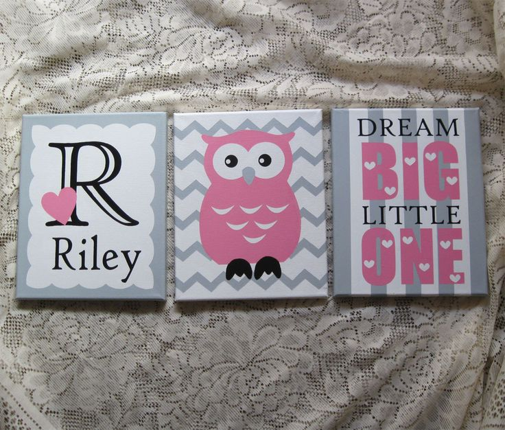 "Set of 3 or 4 Adorable Owl Themed Girl Nursery 8"" x 10"" Acrylic Paintings. (Not a print.) As with any hand painted item colors may vary slightly. *We can change colors! (See second picture for the Def"