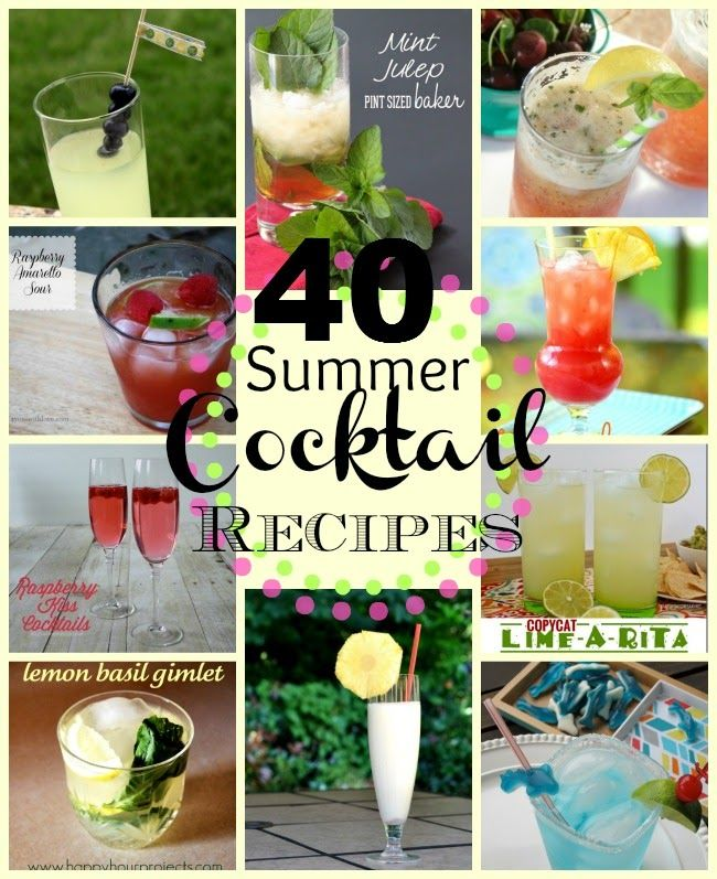 40 Summer Cocktail RecipesSmall Things, Cocktail Recipes, Summer Cocktails, Beverages Recipe, 10 Recipe, 40 Cocktails, Delicious Recipe, Cocktails Recipe, 40 Summer