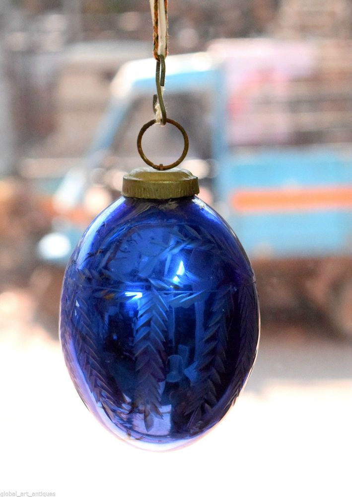 Beautiful Blue Glass Kugel Etched Christmas Vintage Tree Ornament