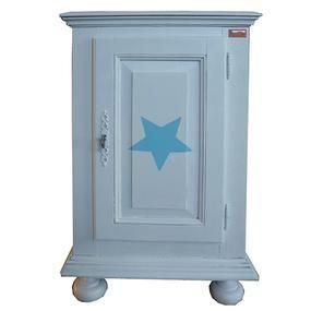 Brocant blauw nachtkastje voor op de slaapkamer - Makeithome.nl
