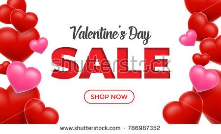 Valentines Day Sale Background With Heart Vector Wallpaper Flyers