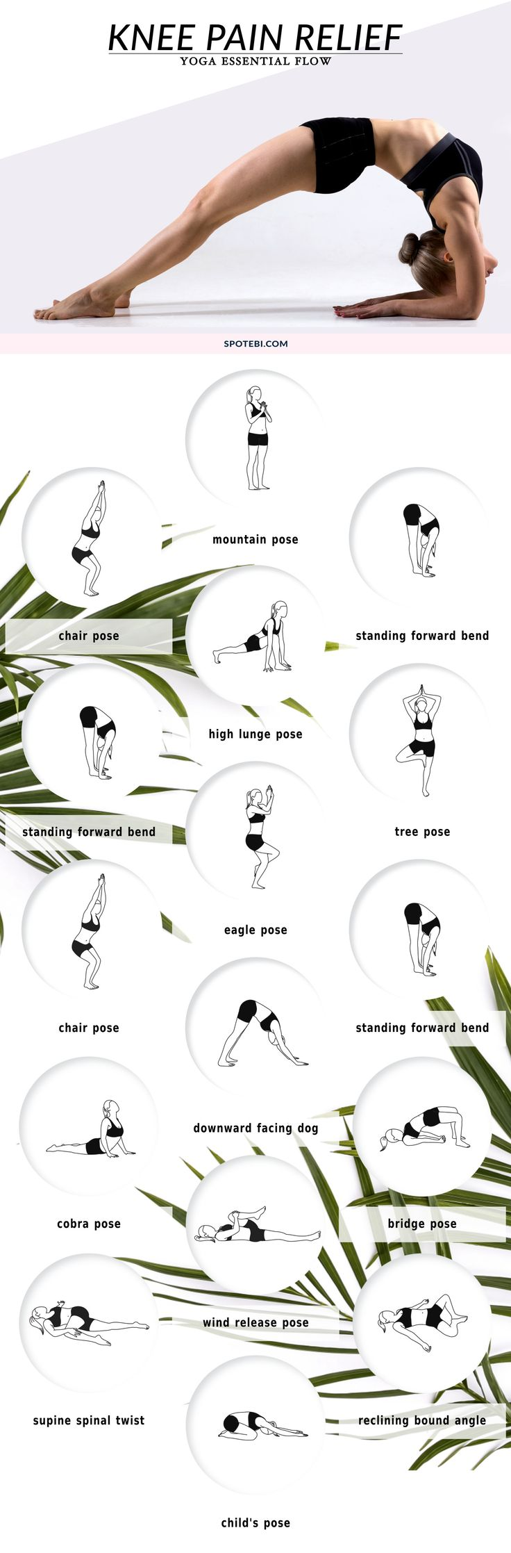 Relieve knee pain at home with this 12-minute yoga essential flow. Perform these yoga poses mindfully to help protect the knees, improve alignment and regain knee strength and flexibility. | Posted by: NewHowToLoseBellyFat.com