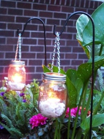 Diy Hanging Mason Jar White Candles Lights For Plants