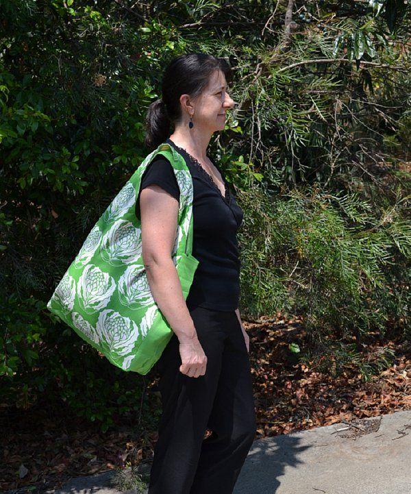 Organic Cotton Green Waratah Shopping Bag $29.95