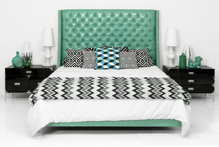 St. Tropez Bed in Aqua Croc Faux Leather