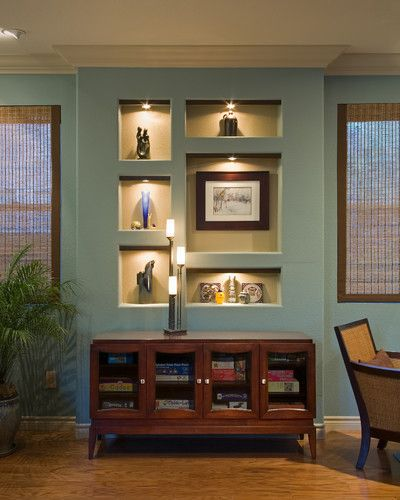 Recessed shelves home pinterest for Dining room recessed lighting ideas