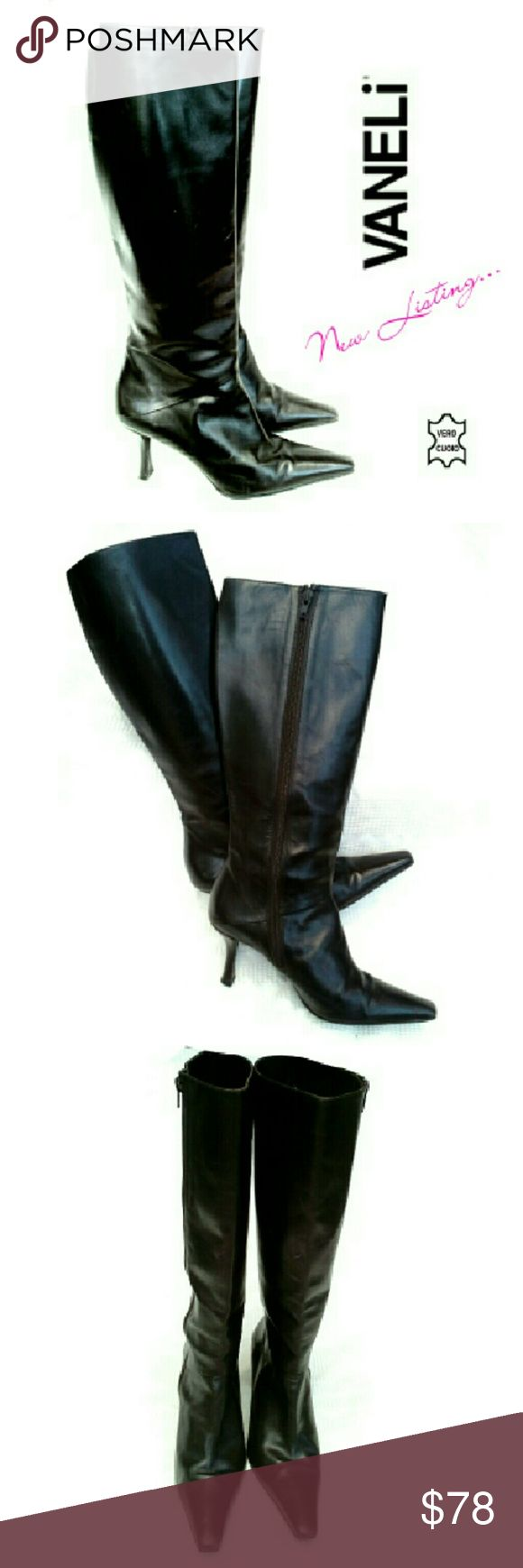 """VANELI VERO CUOIO BLACK #2 ITALY MADE BOOTS VANELI MADE IN ITALY GENUINE LEATHER BOOTS #2 Pre-loved / VERO CUOIO (Genuine Leather) *   These R Like The Other Pair ( except no Expansions in Calves)) *   Black Genuine Leather *   3"""" Stiletto Heels *   In Step Zippers *   Total Ht 17"""" Approx Calve Meas; 6 1/2"""" *   Depending on How U hold it, Scuff on Right      Boot. Can't Really See unless U Look For It Pls See All Pics. Ask ? If Needed Vaneli Shoes Heeled Boots"""