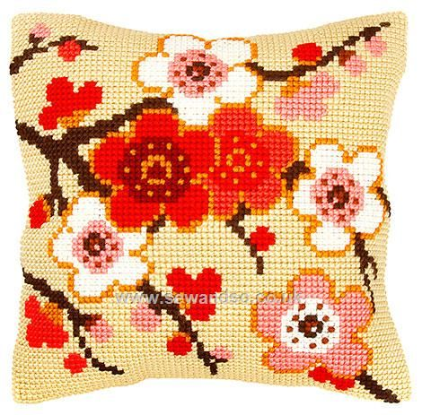 Cherry Blossom on Cream Cushion Front Chunky Cross Stitch Kit