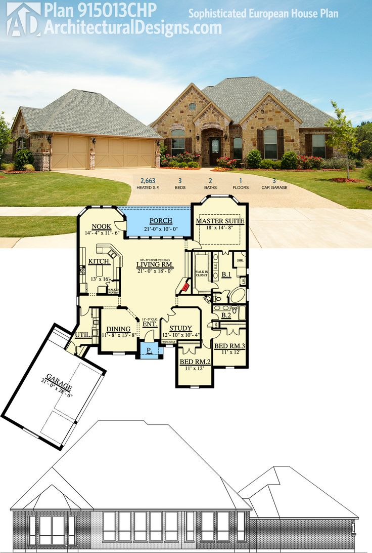 Architectural designs european style house plan 915013chp gives you 3 beds and over 2600 square feet