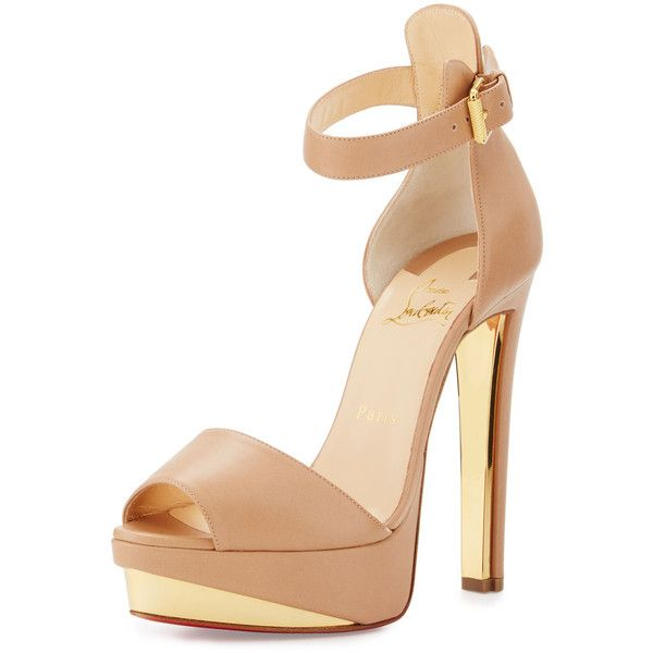 Christian Louboutin Tuctopen Leather Platform Red Sole Sandal ($1,160) ❤ liked on Polyvore featuring shoes, sandals, beige, platform sandals, leather sandals, strappy high heel sandals, leather strappy sandals and ankle strap sandals
