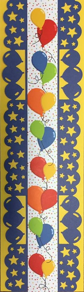 """Look at this adorable border Mindy Catlett created. Too cute! Mindy used 3-1/2""""x12"""" strips of Yellow and Royal Blue plus a Pocket Party Primary Border Strip by Katie Pertiet. She alternated using the Star Party and Balloon Bouquet Border Maker cartridges when cutting the Royal Blue paper."""