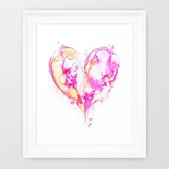 Fine Art Giclée print from my original alcohol ink painting. Splashes of pink, fuchsia and soft yellow  Abstract, heart, love.  Super high quality print using archival inks on acid free 230gsm matt paper. Packed securely for shipping.  Print sizes available; A4 - 8.3 x 11.7 inches (21 x 29.7cm) A3 - 11.7 x 16.5 inches (29.7 x 42 cm) A2 - 16.5 x 23.4 inches (42 x 59.4cm) 12 x 12 inches (305 x 305cm) cropped and sized as shown 16 x 16 inches (406 x406cm) cropped and sized as shown  All prints…
