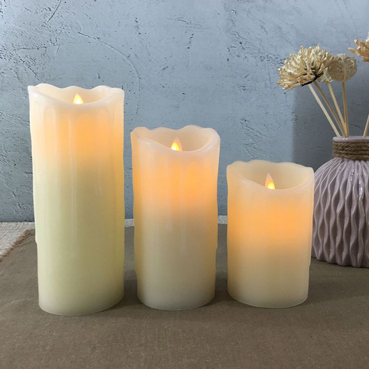 Flameless LED Candle,Tear dripping Style,Made by real Wax & Real Flickering Candle Motion,3 pcs AAA battery and Ivory wax