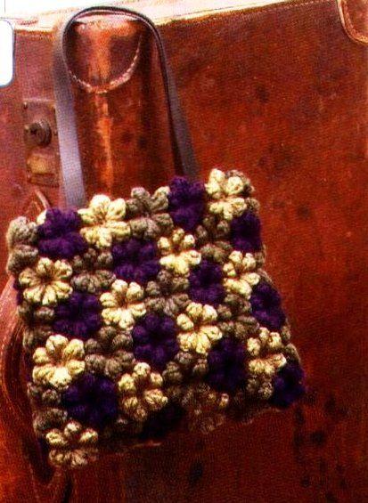 """"""" MOSSITA BELLA PATRONES Y GRÁFICOS CROCHET """": Bolsa con flores en punto bodoque o pop corn a crochet!"""