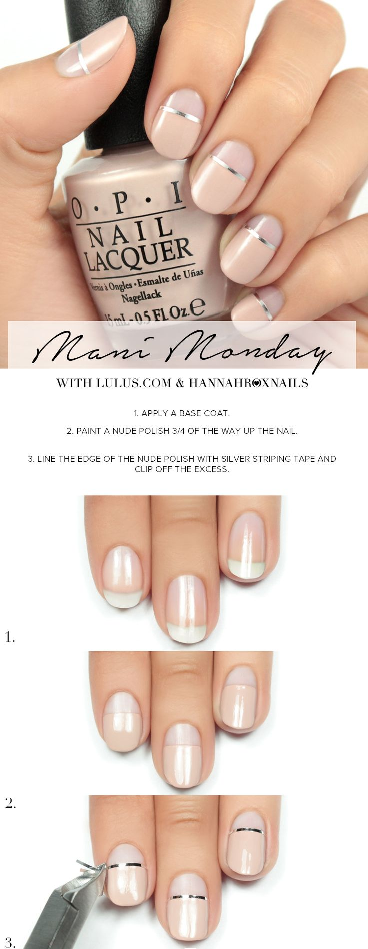 Nudes with silver stripe Nail art tutorial
