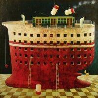 """A. Palazzini, """"Una nave che si chiama Milano"""", 2012, oil on canvas, cm 110 x 110"""