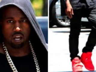 THE SNEAKER ADDICT: Kanye West Wears All-Red Nike Air Yeezy 2 Yeezus Sneakers (Images)