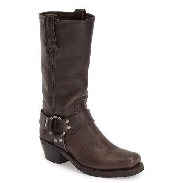 Women's Frye 'Harness 12R' Boot ($328) ❤ liked on Polyvore featuring shoes, boots, mid-calf boots, smoke leather, frye boots, leather harness boots, real leather boots, folded boots and foldover boots