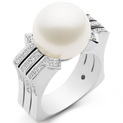 A statement making Kailis Australian White South Sea pearl, white gold and diamond Metropolis ring. View our collection of pearl jewellery at www.rutherford.com.au
