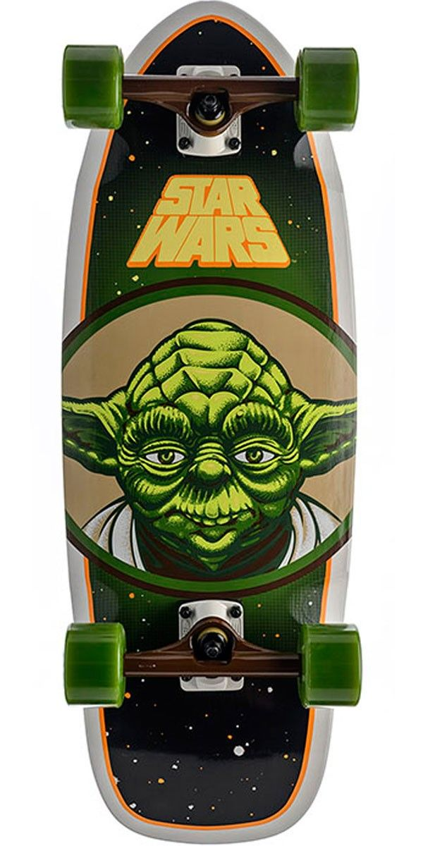"""Star Wars Yoda Skateboard Cruzer Complete - 10"""" x 28.5"""" Santa Cruz and Lucasfilm have teamed up for the most epic collab in the history of the universe. Known for some of the most iconic graphics in skateboarding history, Santa Cruz created original illustrated graphics of classic Star Wars characters and slapped them on their cruzers resulting in the Santa Cruz x Star Wars collab cruzers."""