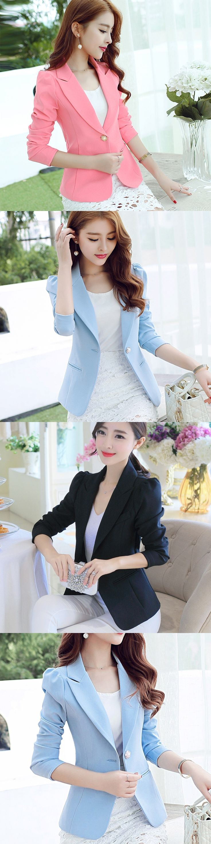 Women Blazer 2017 Long-sleeved Slim Blazer Mujer Office Suits For Women Ladies Blazer Jacket Blazer Pink/blue/black/green