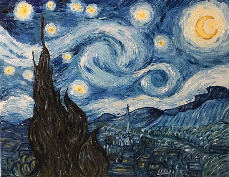 """Reproduction of """"starry night"""" on canvas, professional oil painting 27x35 inch  #Impressionism"""