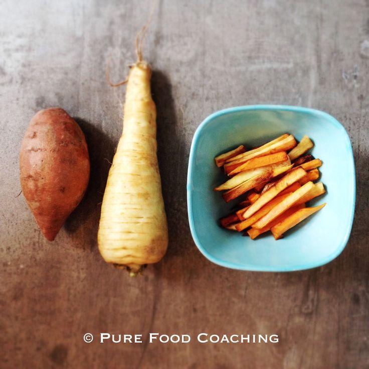 Zoete bataat en pastinaak frieten. Frieten van vergeten groenten. Prima alternatief voor de aardappel.