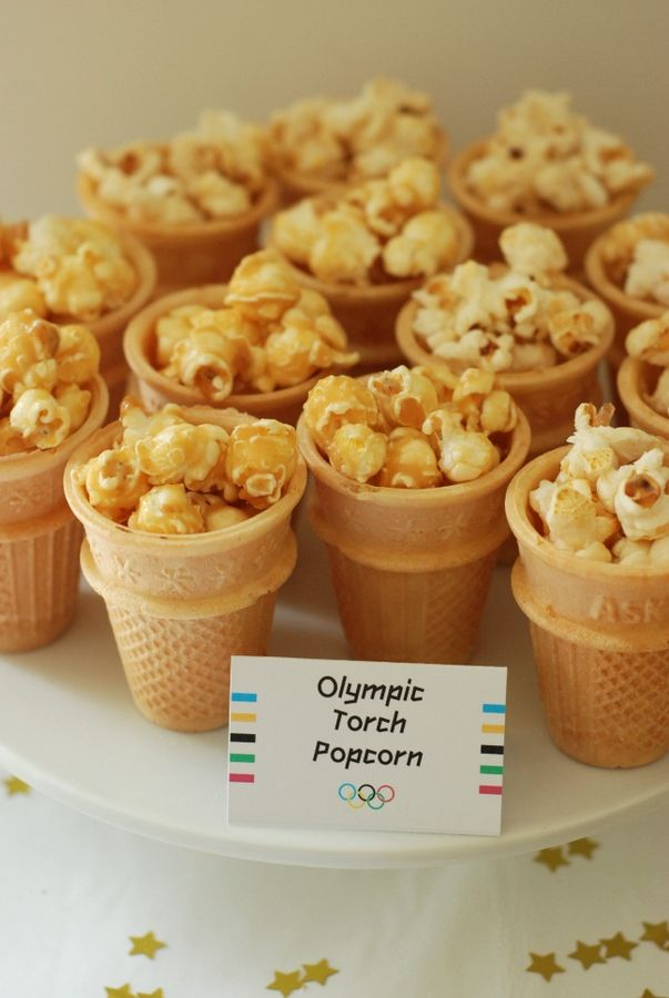 Olympic Torch Popcorn ~Plus more ideas for an Olympic birthday party.-or maybe chex mix?