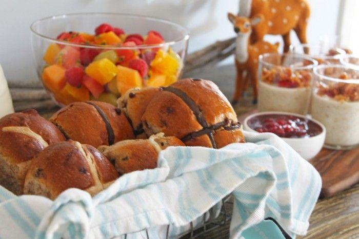 Hot Cross Buns, Fruit Salad and Bircher Muesli
