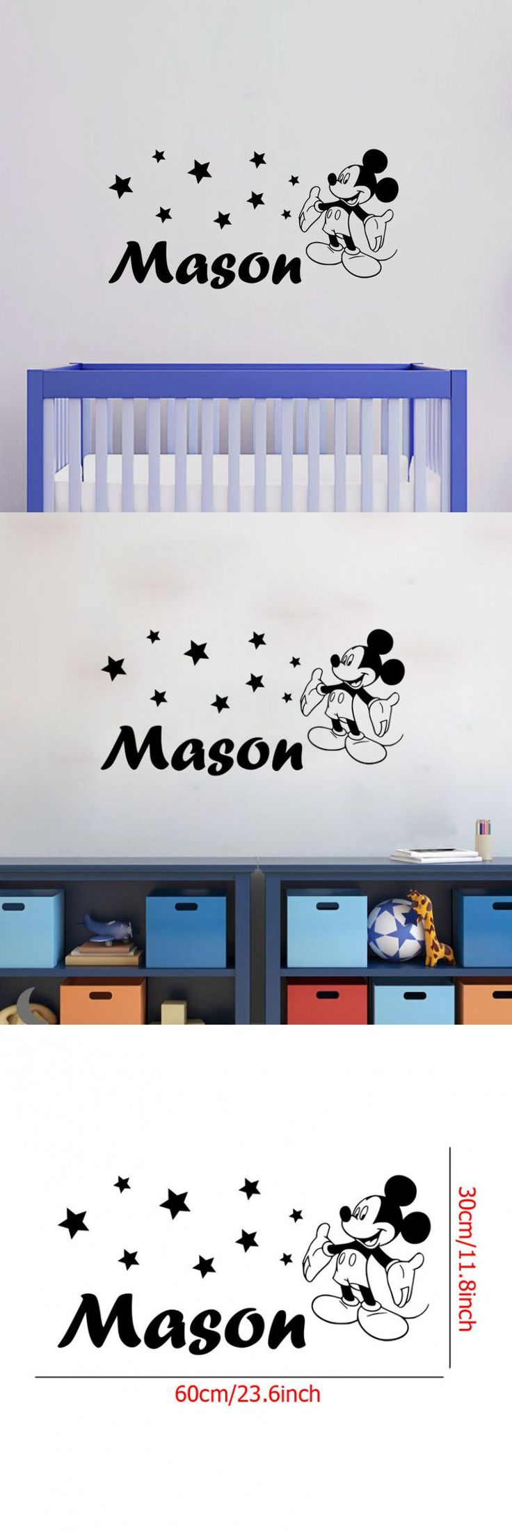 25 best mickey mouse wall decals ideas on pinterest minnie vinyl personalized kids name art wall sticker mickey mouse pattern lovely wall decal for home kids