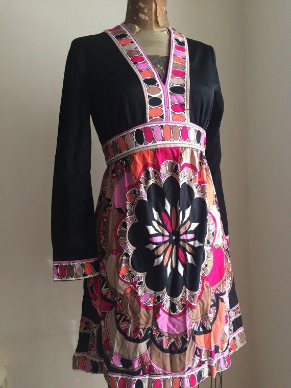 Victor Costa Romantica Dress Long Sleeves Black Mandala Pink Orange Beige Gray Raspberry Size Small