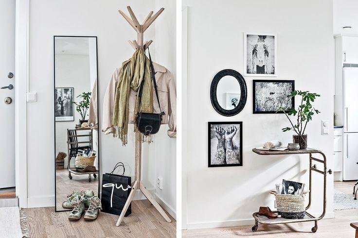 Plats för hallmöbel och avhängning för ytterkläder finns direkt innanför dörren. Bjurfors.se